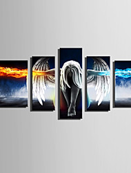 cheap -E-HOME Stretched Canvas Art Angels Of Ice And Fire Decoration Painting Set Of 5