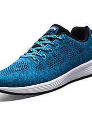 Masculino Tênis Conforto Tule Primavera Outono Casual Caminhada Cadarço Rasteiro Preto Cinzento Azul 5 a 7 cm