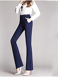 abordables -Mujer Tallas Grandes Tiro Alto Delgado Ajustado a la Bota Corte Recto Empresa Pantalones - Un Color