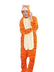 Недорогие -Пижамы кигуруми Tiger Цельные пижамы Костюм Фланель Косплей Для Взрослые Нижнее и ночное белье животных Мультфильм День всех святых