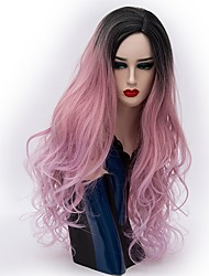 baratos -Perucas sintéticas Ondulado Natural Rosa Cabelo Sintético Cabelo Ombre Rosa Peruca Mulheres Longo Sem Touca Rosa / Roxo