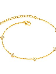 cheap -Luxury Zircon / Gold Plated - Women's Gold Luxury / Fashion Line / Four Leaf Clover Anklet For Wedding / Party