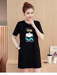 Tee Shirt Robe Femme Décontracté / Quotidien simple,Couleur Pleine Lettre Col Arrondi Au dessus du genou Manches Courtes Coton EtéTaille