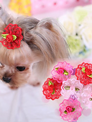 cheap -Cat Dog Hair Accessories Hair Bow Dog Clothes Cosplay Wedding Rose Red Pink Costume For Pets