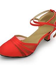 cheap -Women's Modern Tulle Fabric Sandal Heel Practice Cuban Heel Black Red
