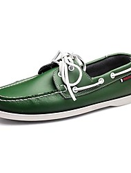 Men's Boat Shoes Comfort Driving Shoes Spring Summer Fall Winter Leather Casual Party & Evening Lace-up Low Heel Green Under 1in