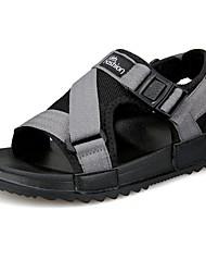 Men's Sandals Light Soles PU Summer Casual Buckle Flat Heel Gray Black Flat