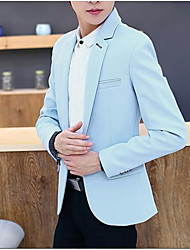 Men's Casual/Daily Work Simple Fall Blazer,Solid Peaked Lapel Long Sleeve Regular Cotton Polyester