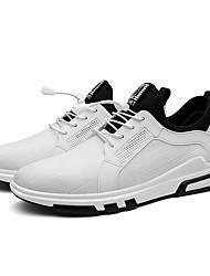 economico -Unisex scarpe da ginnastica Suole leggere Primavera Autunno PU sintetico Materiali personalizzati Casual Lacci A quadri Piatto Bianco Nero