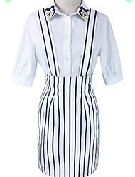 レディース お出かけ 夏 シャツ スカート スーツ,シンプル シャツカラー ストライプ 七分袖 マイクロエラスティック