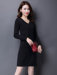 cheap -Women's Vintage Long Sleeves Long Pullover - Solid V Neck