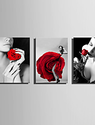 cheap -E-HOME Stretched Canvas Art  Women And Red Roses Decoration Painting Set Of 3