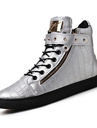 cheap -Men's High-top Sneakers Comfort Leather Summer Fall Casual Outdoor Rivet Flat Heel Brown Silver Black Flat