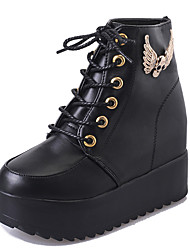 cheap -Women's Boots Comfort Spring Fall PU Casual Lace-up Flat Heel Black White Flat