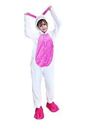 Kigurumi Pajamas Rabbit/Bunny Leotard/Onesie Shoes Festival/Holiday Animal Sleepwear Halloween Pink Animal Embroidered Flannel Fabric
