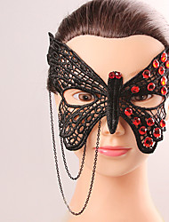 Europe and America Style Elegant Woman Black Lace Butterfly Cryastal Tassel Mask Female Costume Party Evening Half Block Mask