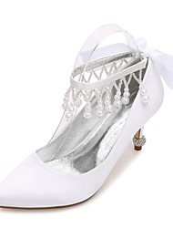 cheap -Women's Wedding Shoes Comfort Basic Pump Spring Summer Satin Wedding Dress Party & Evening Rhinestone Bowknot Pearl Imitation Pearl
