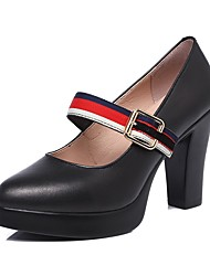 cheap -Women's Heels Basic Pump Spring Fall Real Leather Casual Office & Career Buckle Platform Black 3in-3 3/4in