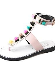 Women's Sandals Light Soles PU Summer Casual Dress Sequin Flat Heel Black White Flat