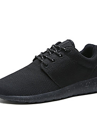 Men's Athletic Shoes Comfort Summer Fall Fabric Walking Shoes Casual Lace-up Flat Heel White Black Flat