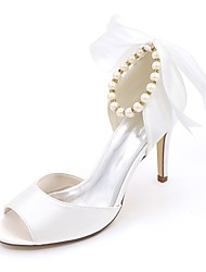 Women's Wedding Shoes Basic Pump Spring Summer Satin Wedding Party & Evening Imitation Pearl Stiletto Heel Ivory Champagne Blue Ruby