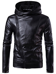 cheap -Men's Street chic / Punk & Gothic Plus Size Leather Jacket - Solid Colored, Fur Trim Hooded / Long Sleeve