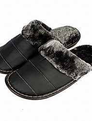 Men's Slippers & Flip-Flops Comfort Fall Winter Cowhide Casual Split Joint Flat Heel Black Dark Brown Flat