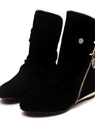 baratos -Mulheres Sapatos Flanelado Inverno Botas da Moda Botas Sem Salto Botas Curtas / Ankle Roxo / Amarelo / Vermelho