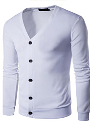 cheap -Men's Long Sleeves Wool Cardigan - Solid Colored V Neck