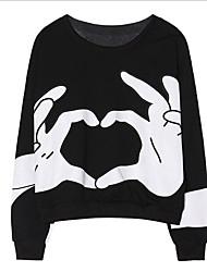 preiswerte -Damen Pullover Ausgehen Druck Rundhalsausschnitt Mikro-elastisch Andere Lange Ärmel Sommer