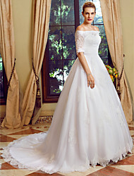 cheap -Ball Gown Off-the-shoulder Chapel Train Lace Tulle Wedding Dress with Appliques Buttons by LAN TING BRIDE®