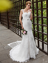 cheap -Mermaid / Trumpet Straps Chapel Train Lace Tulle Wedding Dress with Appliques Sashes/ Ribbons by LAN TING BRIDE®