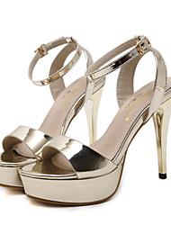 baratos -Mulheres Sapatos Couro Ecológico Verão / Outono Conforto / Inovador Sandálias Caminhada Salto Robusto / Salto de bloco Dedo Aberto