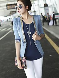 Giacca di jeans Da donna Per uscire Semplice Inverno,Tinta unita Colletto Poliestere Standard Manica lunga