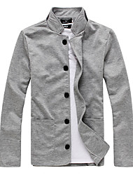 Men's Sports Going out Casual/Daily Street chic Spring Fall Jacket,Solid Stand Long Sleeve Regular Cotton Polyester