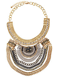 L.WEST Women's Statement Necklaces Multi Layer Metal Chain