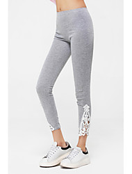 cheap -Women's Lace Black/Gray Skinny Hollow Flower Lace Leggings
