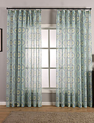 Rod Pocket Grommet Top Tab Top Double Pleated Pencil Pleated Curtain Boho , Flower Living Room Material Sheer Curtains Shades Home