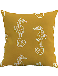 1 Pcs Vintage Yellow Sea Horse Pillow Cover Personality Mediterranean Pillow Case