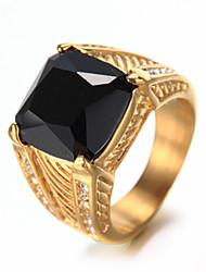 cheap -Men's Luxury Rhinestone Rhinestone Band Ring - Others Luxury Vintage Bling Bling Elegant Fashion White Black Ring For Birthday Gift Daily