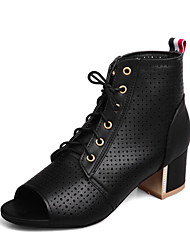 cheap -Women's Boots Fashion Boots Summer Leatherette Casual Dress Lace-up Chunky Heel Black Beige Ruby Blue 2in-2 3/4in