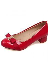 preiswerte -Damen Schuhe PU Kunststoff Sommer Herbst Neuheit Komfort High Heels Blockabsatz Runde Zehe Schleife für Hochzeit Party & Festivität