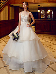 Ball Gown Illusion Neckline Chapel Train Organza Wedding Dress with Appliques Tiered by LAN TING BRIDE®