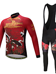 cheap -Men's Long Sleeves Cycling Jersey with Bib Tights - Burgundy Bike Clothing Suits, Quick Dry, Sweat-wicking, 3D Pad