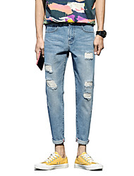 Men's Mid Rise Inelastic Jeans PantsSimple Straight Slim Ripped Solid CN-918