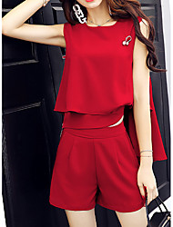 cheap -Women's Daily Casual Summer T-shirt Pant Suits,Solid Round Neck Sleeveless Wool