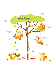 cheap -Wall Stickers Wall Decas Style Lovely Squirrel Playing on The Swing PVC Wall Stickers