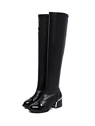 Women's Shoes PU Winter Comfort Boots Low Heel Over The Knee Boots For Casual Black