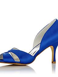 abordables -Femme Chaussures Satin Eté / Automne Confort Sandales Talon Aiguille Bout ouvert Bleu / Mariage / Soirée & Evénement
