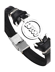 Men's Women's Leather Bracelet Fashion Punk Personalized Stainless Steel Leather Round Anchor Jewelry For Gift Daily Street Going out